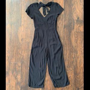 Abercrombie Black Linen Tie Back Jumpsuit - Med
